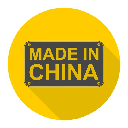 china icon: Made in China icon with long shadow Illustration