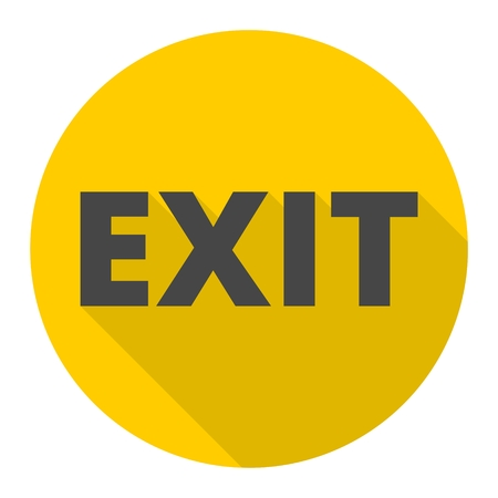 exit icon: Exit icon with long shadow Illustration