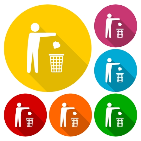 Trash bin or trash can with human figure symbol icons set with long shadow Vektoros illusztráció