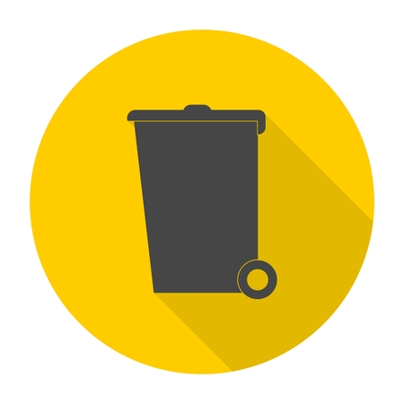 receptacle: Trash bin icon with long shadow Illustration