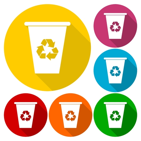 recyclable waste: Vector recycle garbage can icons set with long shadow