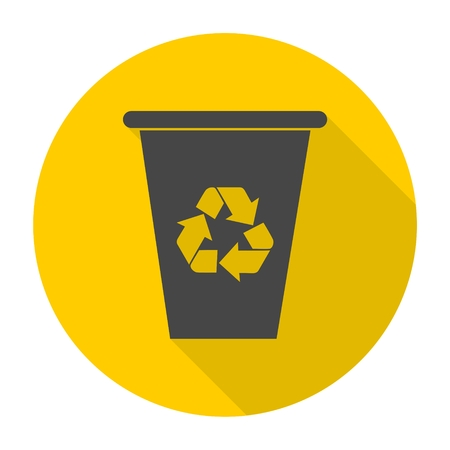 environmentalist: Vector recycle garbage can icons set with long shadow