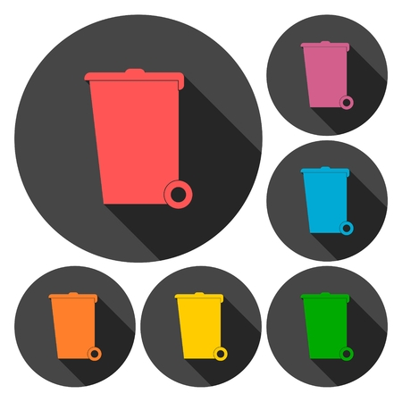 receptacle: Trash bin icons set with long shadow