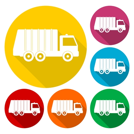 utilize: Recycle truck icons set with long shadow