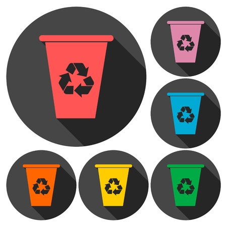 environmental awareness: Vector recycle garbage can icons set with long shadow