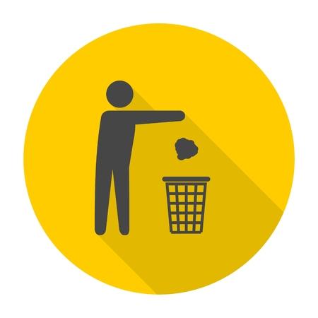 Trash bin or trash can with human figure symbol icon with long shadow Vektoros illusztráció
