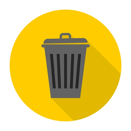 environmentalist: Vector recycle garbage can icon with long shadow