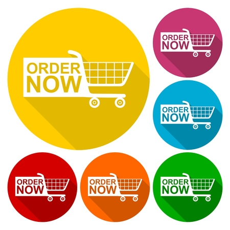 order now: Order Now Shopping Cart icons set with long shadow