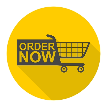 order now: Order Now Shopping Cart icon with long shadow