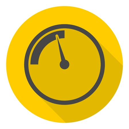 pressure gauge: Pressure gauge, manometer icon with long shadow Illustration