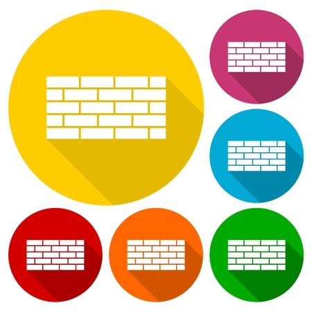 Bricks icons set with long shadow