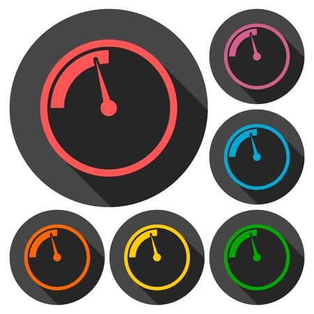 pressure gauge: Pressure gauge, manometer icons set with long shadow