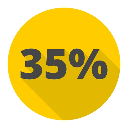 thirty five: Discount thirty five (35) percent circular icon with long shadow