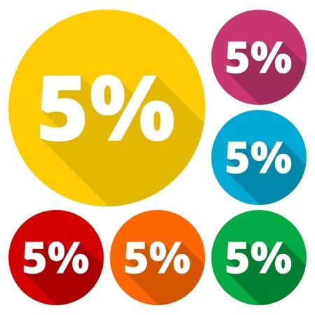 Descuento de cinco (5) por ciento de iconos circulares se establece con la larga sombra