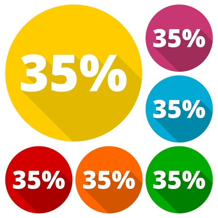 thirty five: Discount thirty five (35) percent circular icons set with long shadow