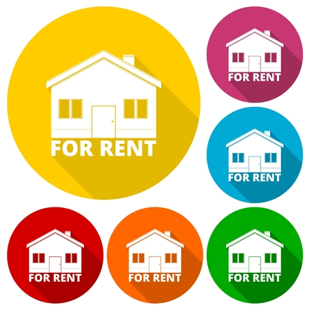 house for rent: House for rent icons set with long shadow Illustration