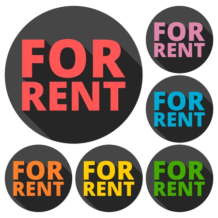 rent: For Rent icons set with long shadow