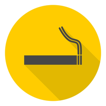 pernicious habit: Cigarette smoke sign icon with long shadow