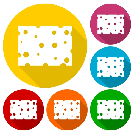edibles: Cheese icons set with long shadow