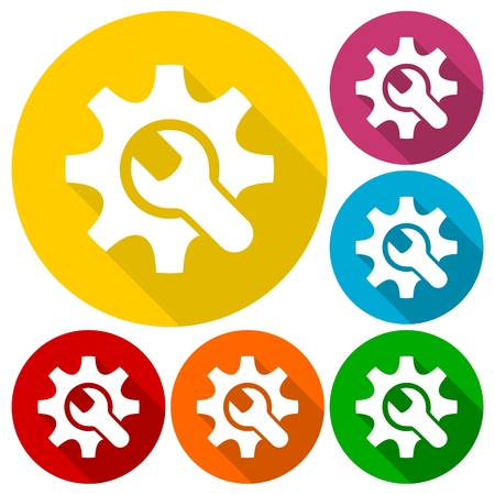 developement: Simple wrench and gear icons set