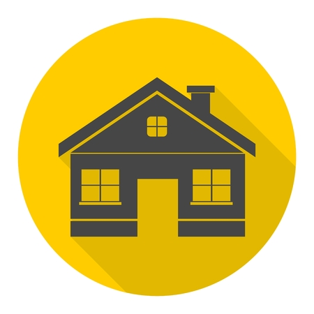 house for rent: House for rent icon with long shadow Illustration