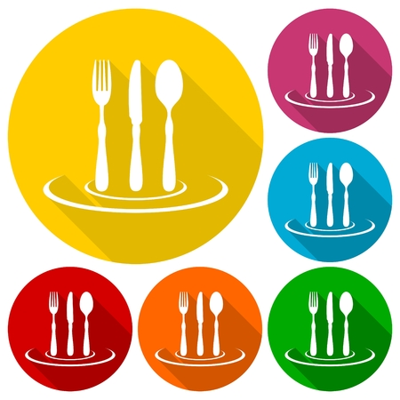 buttons web: Gastronomy, Restaurant symbol, fork, knife and spoon icons set with long shadow