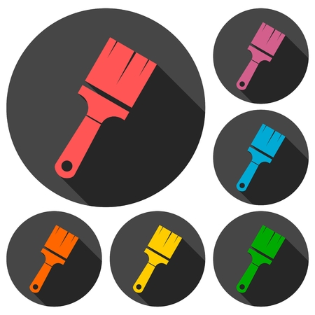 Paint brush sign icons set with long shadow Stock Illustratie