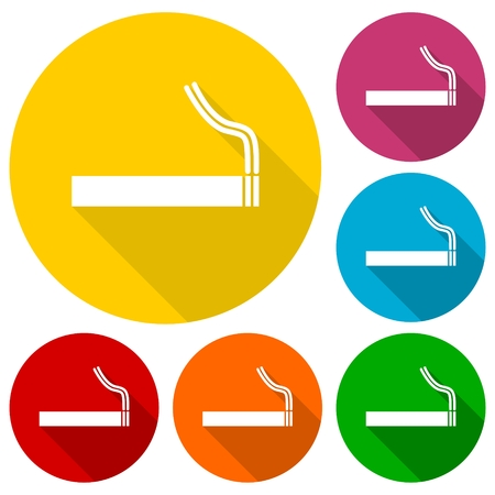 pernicious habit: Cigarette smoke sign icons set with long shadow