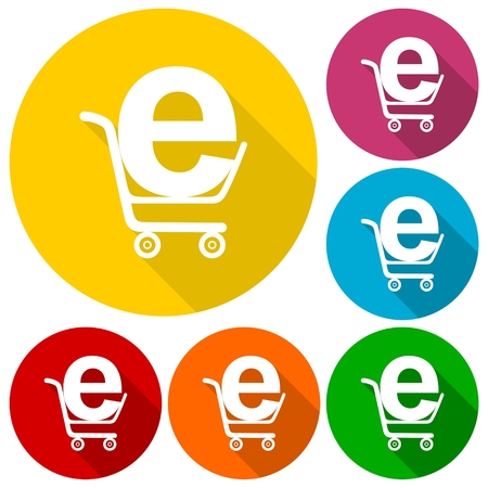 shoping: Internet shoping icons set with long shadow Illustration