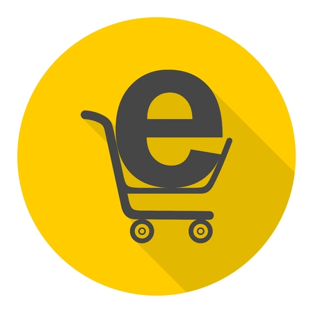 shoping: Internet shoping icon with long shadow Illustration