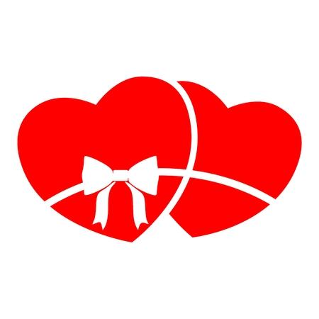 Zwei Herzen Symbol mit langen Schatten
