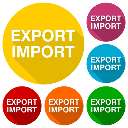 export import: Export import icons set with long shadow