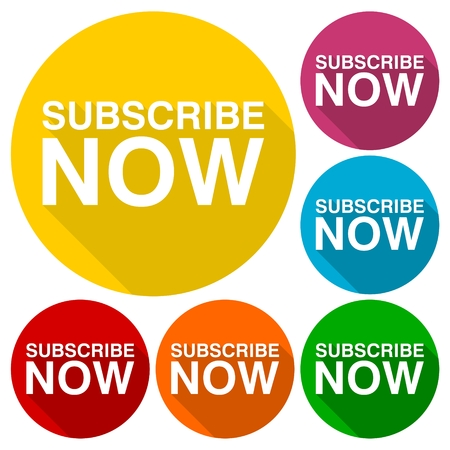 subscribe now: Subscribe now icons set with long shadow