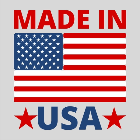 American (USA) Made text design with the American flag