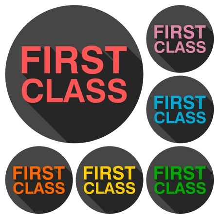 first in class: First class icons set with long shadow