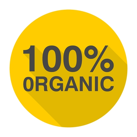 hundred: 100% organic icon with long shadow Illustration