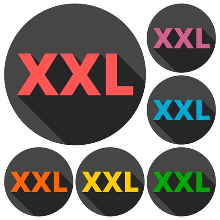 XXL icons set with long shadow Illustration