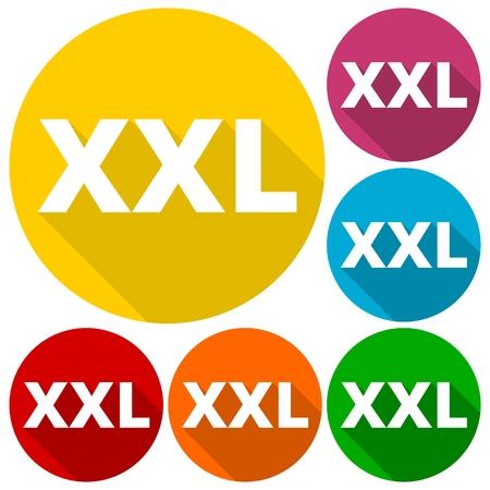 xxxl: XXL icons set with long shadow Illustration