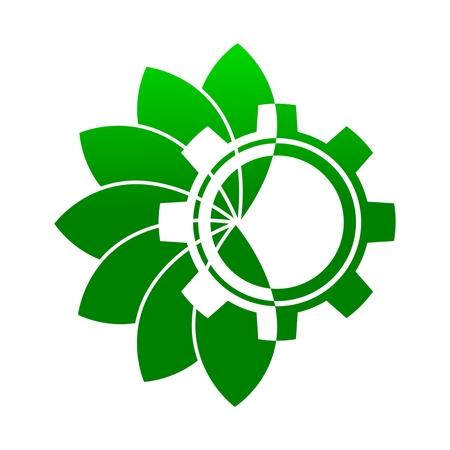 wheel guard: Green leaf with gear icon