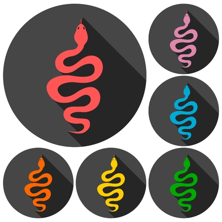 slither: Snake icons set with long shadow Illustration