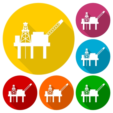 oilwell: Oil platform icons set with long shadow Illustration