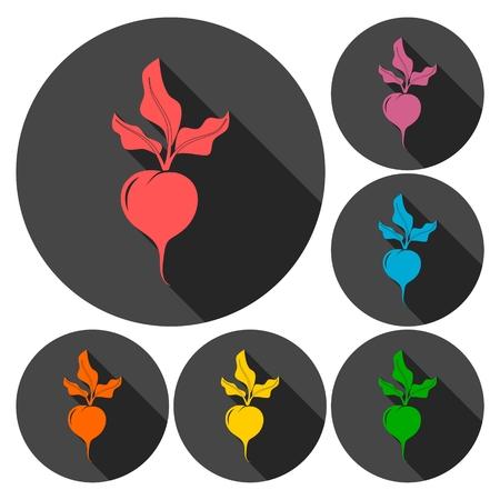 Sugar beet icons set with long shadow