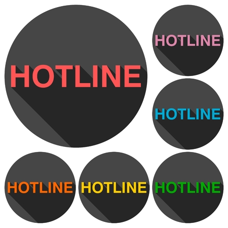 telephonist: Hotline icons set with long shadow Illustration