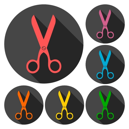 Scissors icons set with long shadow Illustration