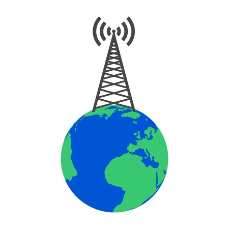 satellite transmitter: Broadcasting antenna on the Earth
