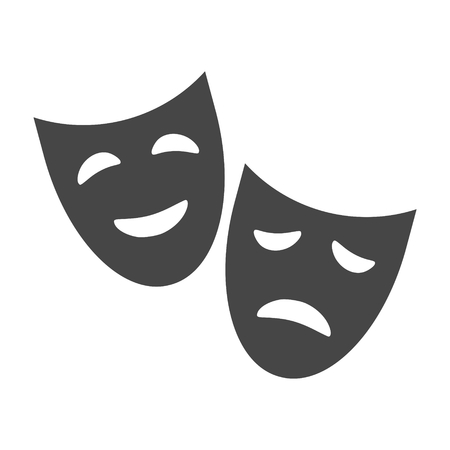 moods: Theater icon with happy and sad masks Illustration
