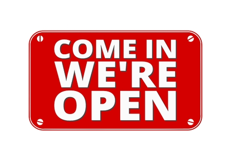 come in: Come In We re Open - brass plate