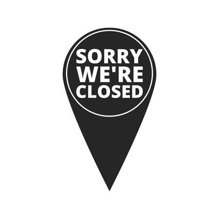 window display: Sorry were closed - map pointer