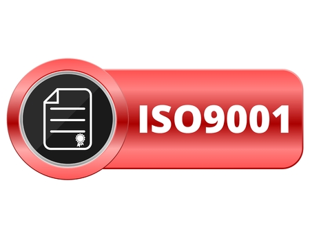 standard steel: Iso 9001 red button Illustration