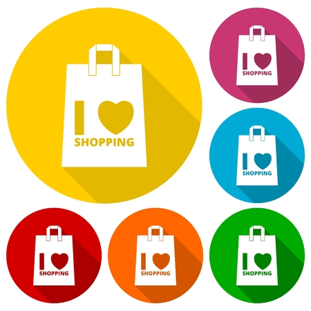 lady shopping: I love shopping bag icons set with long shadow Illustration